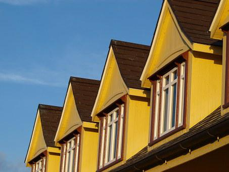 Roof, Windows, House, Yellow, Building