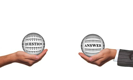 A woman's arm holding a globe with the inscription QUESTION and a man's on the right saying ANSWER