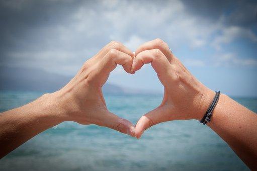 心, 愛, 手, バレンタインの日, ロマン派, ロマンチックな, 恋に落ちる