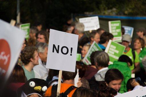 抗議, 抗議行動, 人々のグループ, マス, 群衆, ボード, いいえ