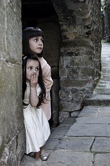 子供, 女の子, 非表示, びっくり, 再生