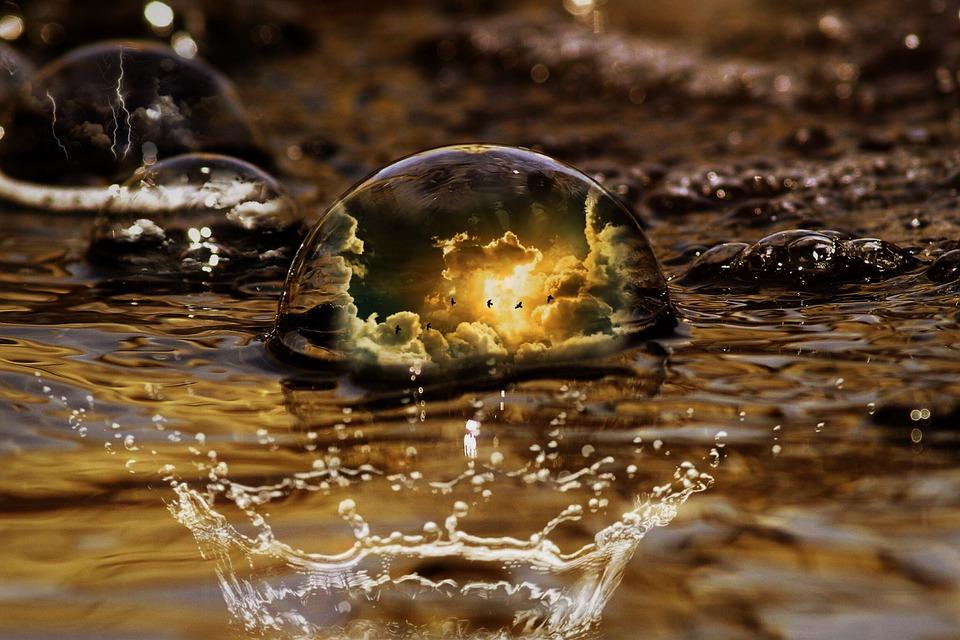 水, 雲, ドロップ水の, 水のボール, 水の飛散, 太陽, フラッシュ, 雷雨, 自然, バッハ, 雨
