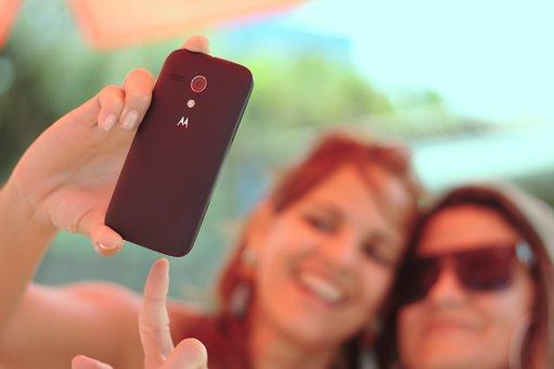 Selfie, 写真, 自己フォト, 女性, 美しい, チャーム, 美容