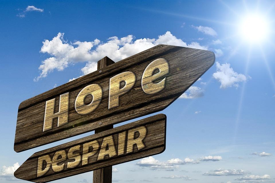 Wegweiser, Wegzeiger, Hoffnung, Hoffnungslosigkeit