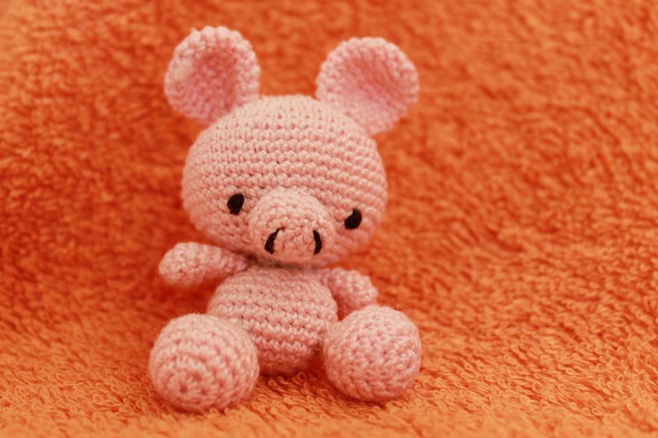钩针编织, 猪, 玩具, 钩编, 针织, 动物, 棉花, 针, 对象, oink, 粉红