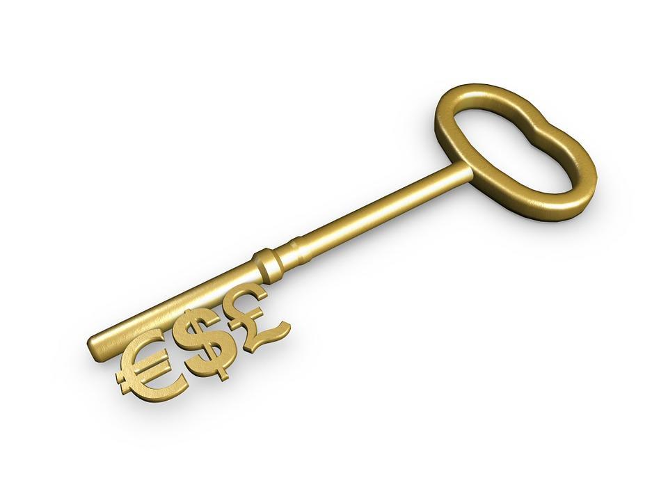 キー, お金, 成功, ビジネス, コンセプト, アカウント, 貯蓄, オープン, 銀行, ゴールド