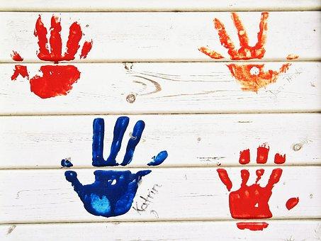 Handabdruck, Hände, Farbe, Wand, Holz