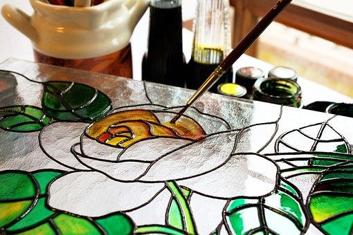 Verre, Peinture, Art, Dessin, Rosa