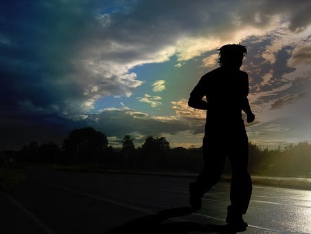 ランナー, ジョギング, マラソン, 雲, 雨, ウェット, 実行, 人間, 人
