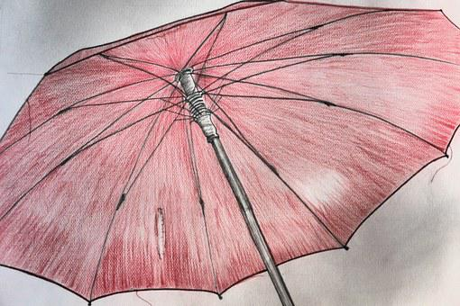 Screen, Umbrella, Red, Drawing, Image