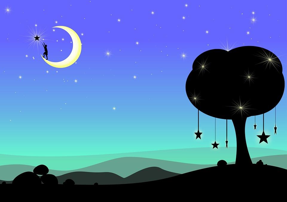 Luna, Sueño, Fantasía, Surrealista, Noche, Oscuro, Azul