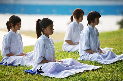 Children, Girls, School, Buddhists, Camp