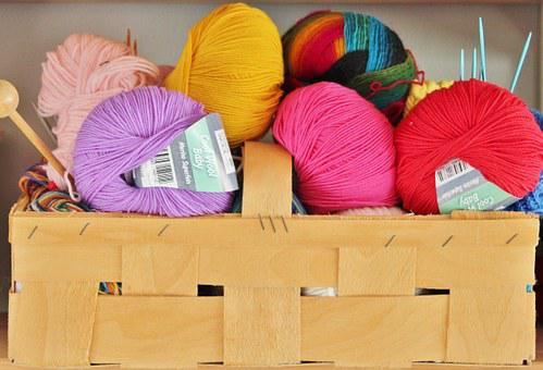 Wool, Knit, Knitting Needles, Basket