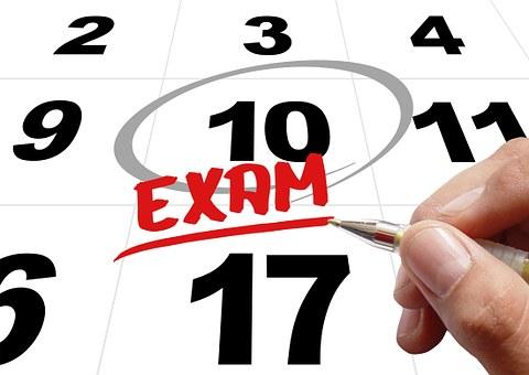 時間, 試験, テスト, 手, 書きます, ペン, メモ, カレンダー, 日付