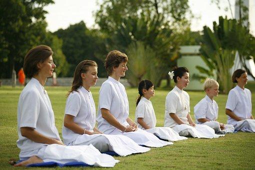 Women, Family, Buddhist, Meditate, Wat