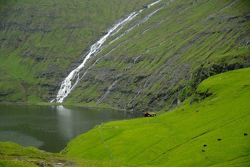 Færøerne, Saksun, Kaskade, Fjord