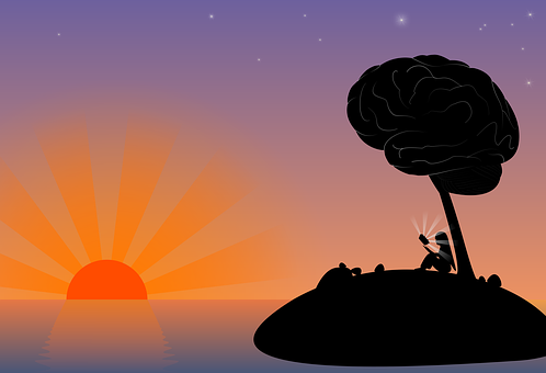 Sunset, Island, Mar, Dusk, Brain