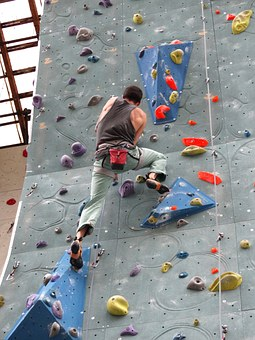 Climber, Man, Force, Rise, Climbing Wall