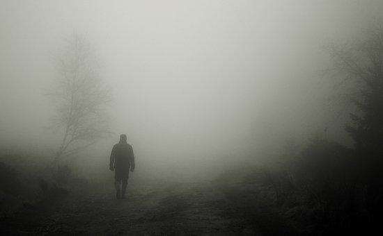Caminhantes, Outono, Nevoeiro, Homem