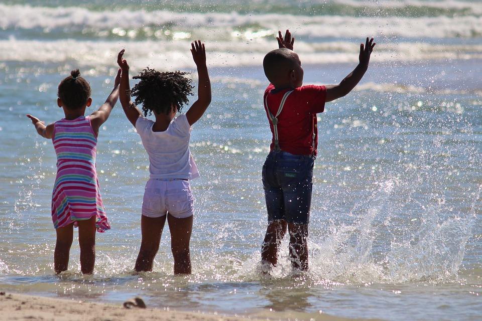 子供, 南アフリカ, 水, 注入する, ビーチ, 海, 黒, アフリカ系アメリカ人, アフリカ, 楽しい