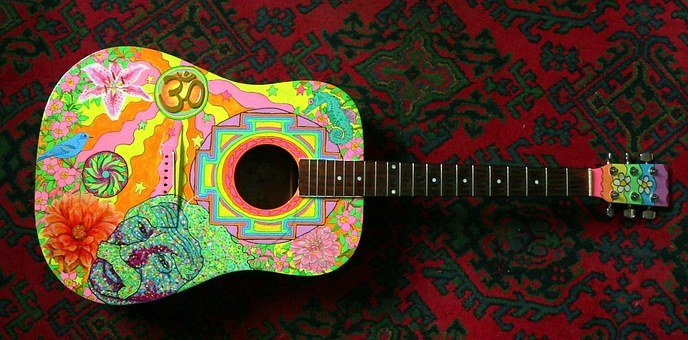 Acoustic Guitar, Hippie, Guitar, Painted