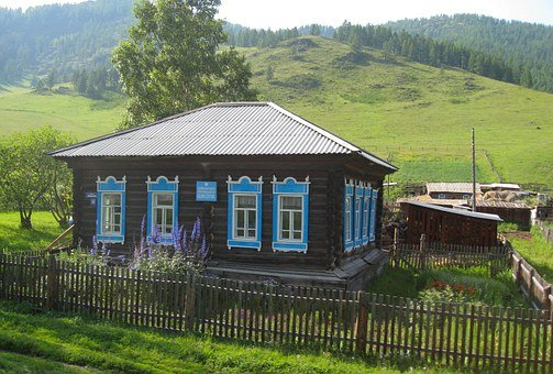 Farm, Russia, Altai, House Painted