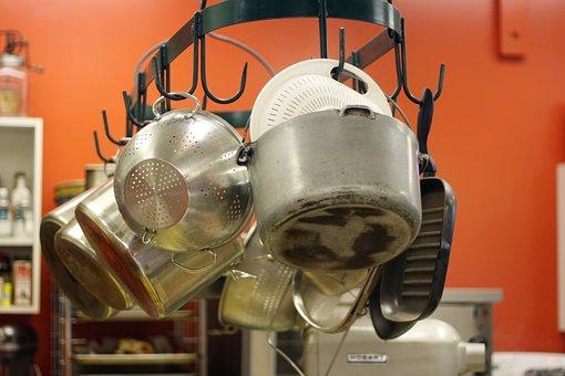 Kitchen, Commercial, Pots, Pan, Colander