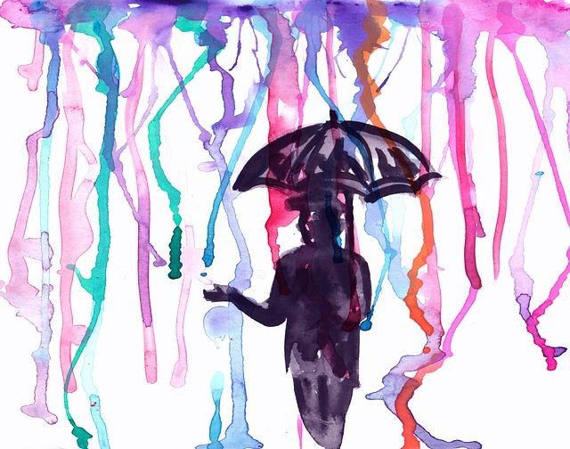 Free Photo Watercolor Man Umbrella Rain Image
