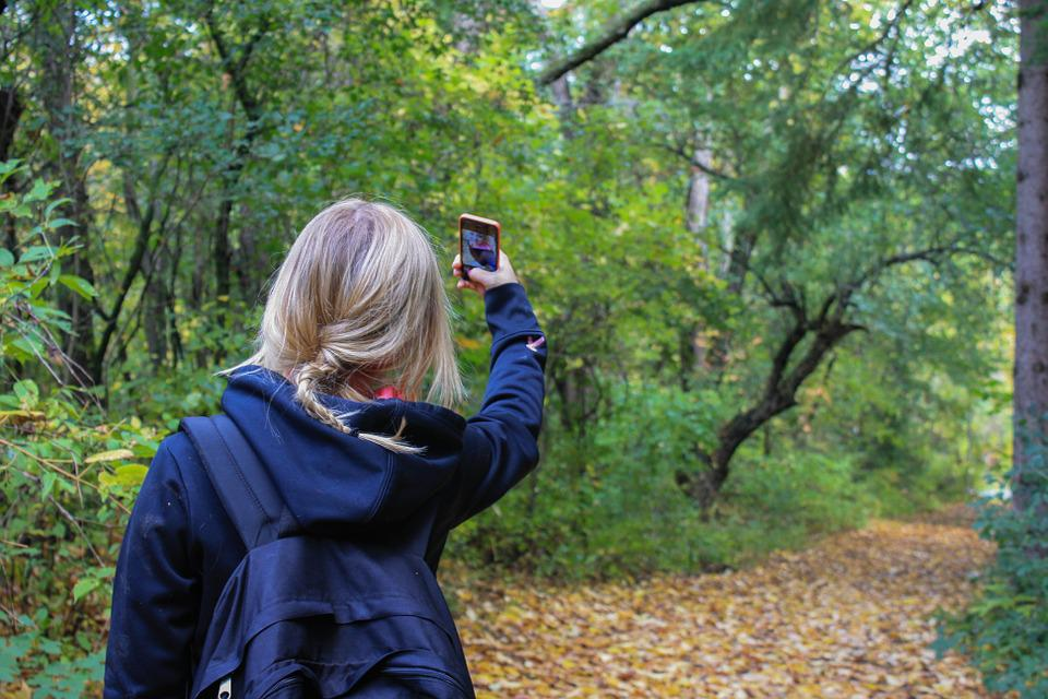 Selfie, Girl, Woman, Hiker, Nature, Forest, Woods, Path