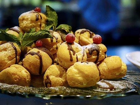 シュークリーム, おいしい, 菓子屋, 食品, 甘い, デザート, 砂糖, 菓子