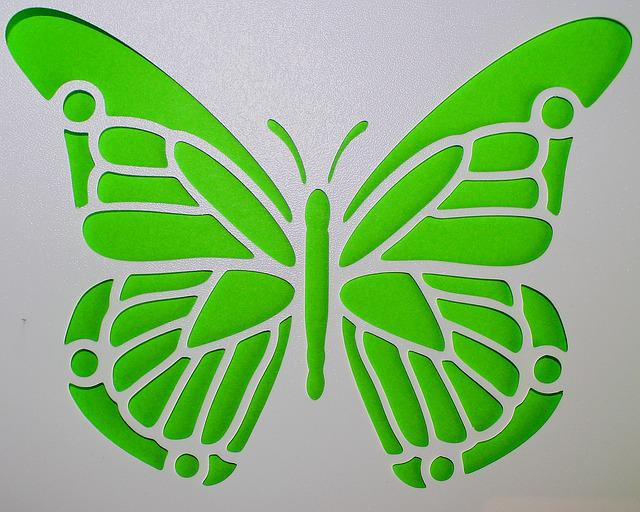 Free photo: Butterfly, Template, Green, Mural