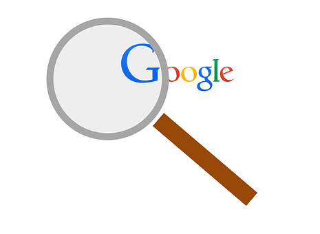 A magnifying glass on the letter G of Google to show why you must always be engaged in research to find your target audience to promote Wealthy Affiliate to