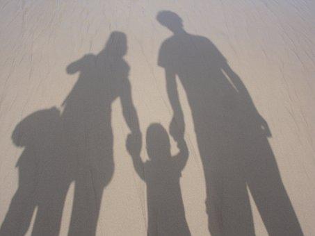 家族, 一緒に, 子育て, ライフスタイル, 親, ビーチ, 休暇, 影