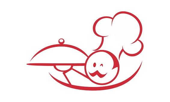 Cuisinier Manger Symbole Forme Plat Donner