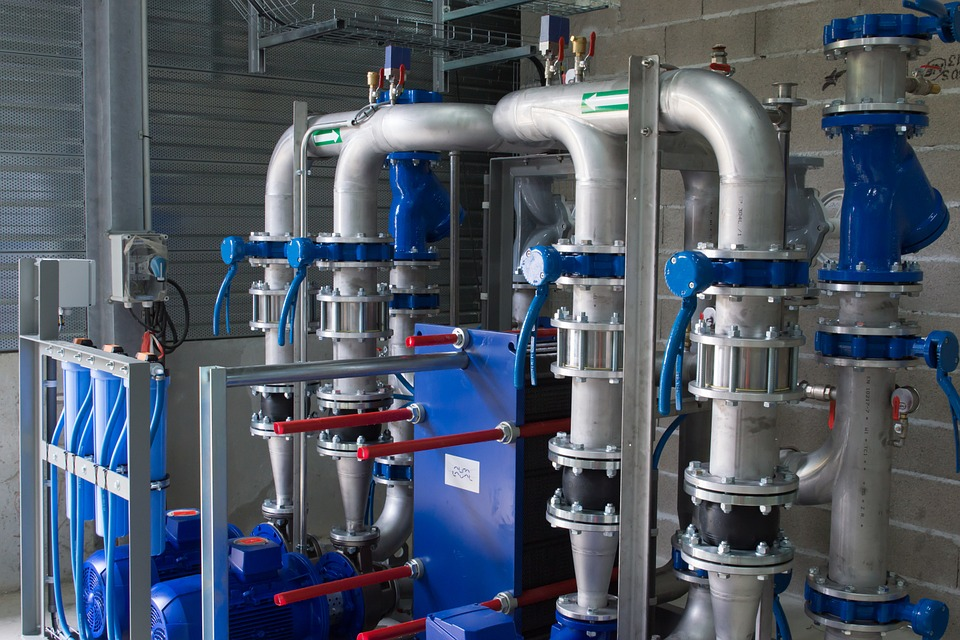 Machine, Tubing, Blue, Pipes, Factory