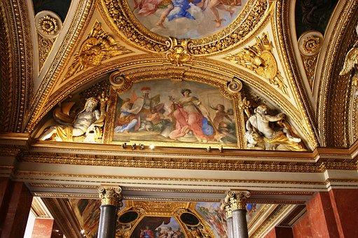卢浮宫, 博物馆, 天花板装饰, 最高限额, 黄金