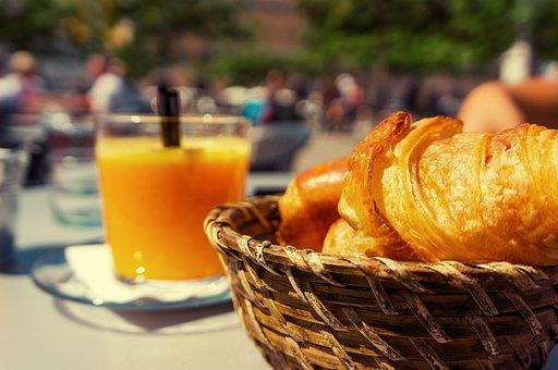 Frühstück, Croissant, Korb, Orangensaft