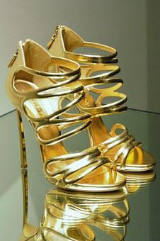 High Heels, Stilettos, Heels, Gold