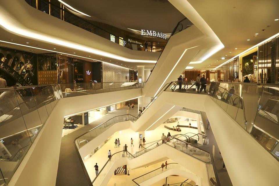 中央大使館, モール, ストア, エスカレーター, ショップ, バンコク, 豪華な, ショッピング, 消費者