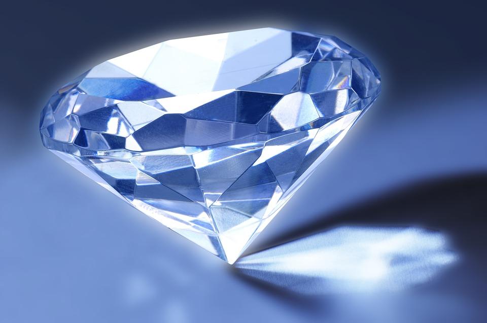Diamant, Gem, Réfraction, Facettes, Crystal, Bleu