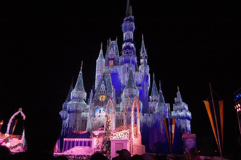魔法の王国, ディズニー, ディズニー ・ ワールド, 城, クリスマスライト, 黒世界, 黒城