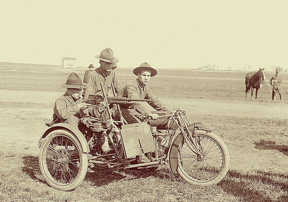Motorcycle, Soldiers, Scouts, Indian Motorcycle, Armed