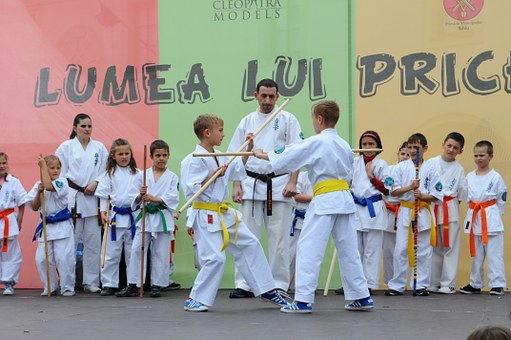 Karate, Martial Arts, Kids, Stage, Fight