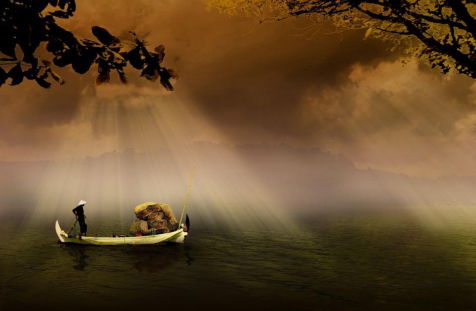 Fisherman, Boat, River, Fishing Boat, Fishing, Water