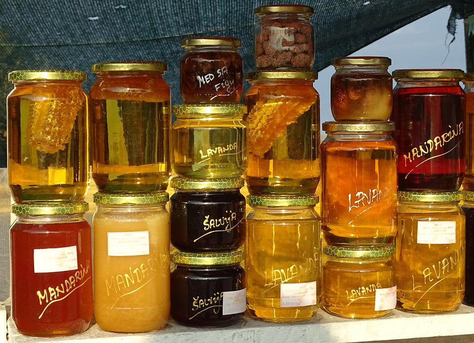 Honey, Honey Jar, Glass, Market, Food, Filled, Eat