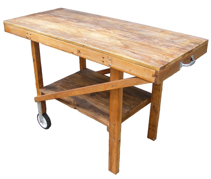 Einkaufswagen Holz Tisch Garten Grillen Im Freien
