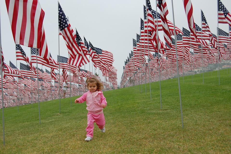 Toddler, Patriot, Patriotic, Girl, Running, Flags, Usa