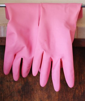 Rubber Gloves, Gloves, Pink, Hanging