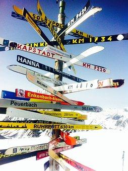 Richtung, Ski, Ziel, Wegweiser, Pfeil