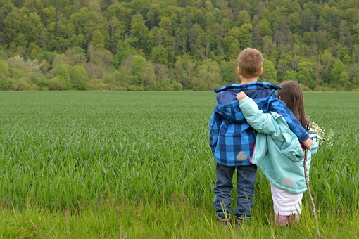 Children Love Friends Hand Flowers Meadow